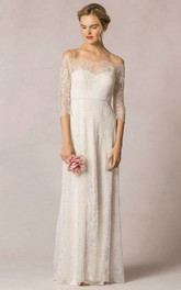 retro Off-the-shoulder Lace 3-4-sleeve Illusion Wedding Dress