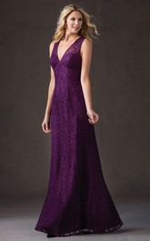 Plunged allover Lace Sheath Floor-length Dress