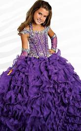 Ruffle Ball Gown Halter Beading Flower Girl Dress