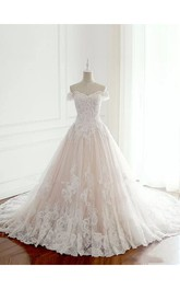 A-line Sleeveless Floor-length Chapel Train Off-the-shoulder Lace Tulle Wedding Dress with Lace-up Back