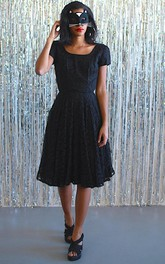 Lace Bateau-Neckline Short-Sleeve Midi-Length Dress