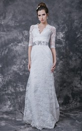 Lace Crystal Embellished Waist 3-4-Sleeve Stylish Dress