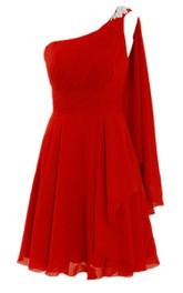 Draping Appliques A-Line Single-Shoulder Dress