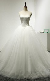 Princess Lace Bodice Lace-Up Back Tulle Sweetheart Ball Gown
