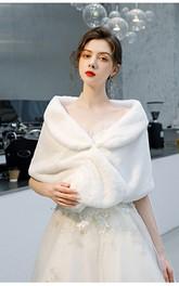White Lovely Short Wedding Wrap