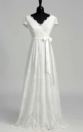 V-neck Short Sleeve Empire Bow Sash Ribbon Wedding Dress