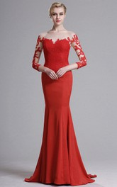 Bateau-Neck Appliqued Illusion Brush Trumpet Lace Jersey Dress