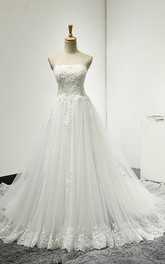 Lace Lace-Up Back Sleeveless Strapless Tulle Dress