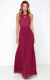 Long Lace Bodice Chiffon Sleeveless Noble Dress