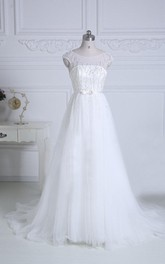 Scoop-neck Cap-sleeve A-line Tulle Wedding Dress With Beading And Court Train