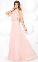 High Neck Sleeveless A-line Dress With Cascading Ruffles