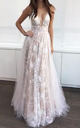 V-neck Lace Tulle Sleeveless Floor-length Appliques  Dress