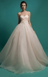 Sleeveless Ruched Appliques Long A-Line Organza Gown