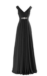 Floor-Length Pleated Beadings A-Line V-Neckline Chiffon Gown