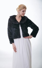 Faux Fur Bridal Jacket With Long Sleeves