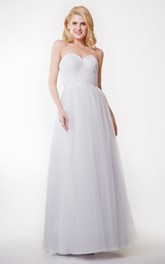 Floor-Length Pleated Tulle Sweetheart Stunning Convertible Dress