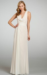 cowl-neck Sleeveless Chiffon Long Bridesmaid Dress