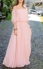 Chiffon Off-The-Shoulder Long Jersey Dress