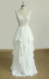 Plunged Sleeveless Lace Pick Up A-line Wedding Dress With Appliques