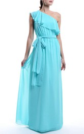 One-shoulder Chiffon Sleeveless Floor-length Dress With bow And draping