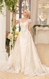 A-Line Floor-Length V-Neck Cap-Sleeve Corset-Back Lace Satin Dress With Appliques And Bow