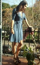 sheer Plunged Half Sleeve short Dress