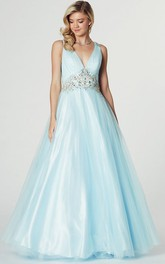 Plunged Sleeveless Tulle Satin Ball Gown With Embellished Waist