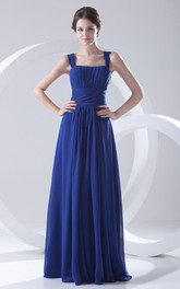 Flowy-Fabric Draping Straps Ethereal Floor-Length Dress