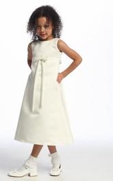 Bowknot Sleeveless Ankle-Length Satin Flower Girl Dress