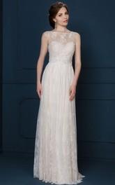 refine Bateau Sleeveless Lace Wedding Dress With Keyhole back
