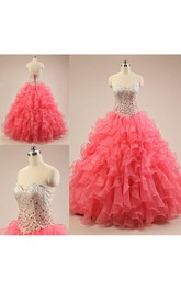 Long Organza Sequined Sweetheart Jeweled Lace-Up Ruffled Lace Dress