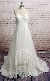A-Line Lace Hem Wedding Floral Sweetheart Tulle Gown