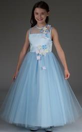 Princess Floral Sleeveless Jewel-Neckline Flower Girl Dress
