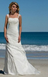 Taffeta Bridal A-Line Simple Wedding Beach Dress