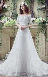 Appliqued Bowknot Lace-Up Off-The-Shoulder Elegant Gown