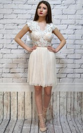 Cap-sleeve V-neck short Dress With Lace top And Pleated skirt
