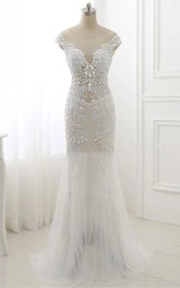 Tulle Beaded Sequined Cap-Sleeve Trumpet Dress