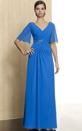 Chiffon Jewel V-Neckline Bell-Sleeve Dress
