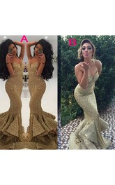 Luxury Spaghetti Sweetheart Sleeveless Sequins Mermaid Trumpet Dress