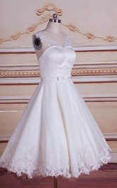 3-4-Length Lace Bridal Short A-Line Satin Tulle Dress
