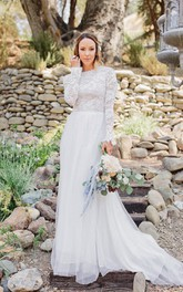 endearing Jewel-Neck Lace Long Sleeve Tulle Floor-length Wedding Dress With Sweep Train