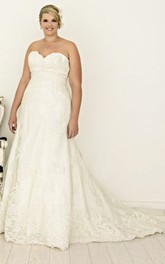 Sweetheart Lace A-line Wedding Dress With Corset Back And Sweep Train