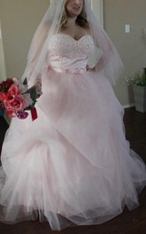 Lace Beaded Wedding Tulle Strapped Satin Dress