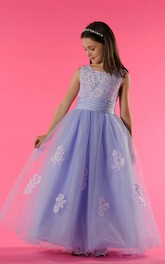 Princess Lace Top Tulle Scoop-Neckline Flower Girl Dress