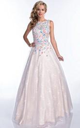 Bateau-Neck Bling Rhinestone-Bodice Sleeveless A-Line Formal Lace Dress