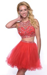 2 Homecoming Mini Glimmering-Bodice Piece Sleeveless Tulle Jewel-Neck Short Dress