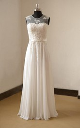 Bridal Pearls Pleats Chiffon Jewel-Neckline Gown