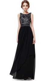 Scoop-neck Sleeveless Chiffon Long Dress With Lace top And Low-V Back