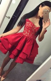 Sleeveless A-line Short Mini Off-the-shoulder Ruching Ruffles Taffeta Lace Homecoming Dress