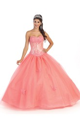 Sweetheart Appliqued Strapless Sleeveless Satin Tulle Lace-Up-Back Ball Gown